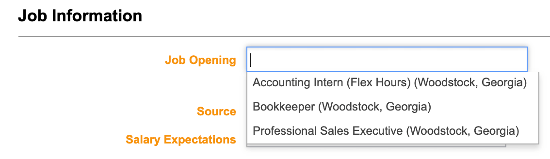 Job Selection Drop Down Menu